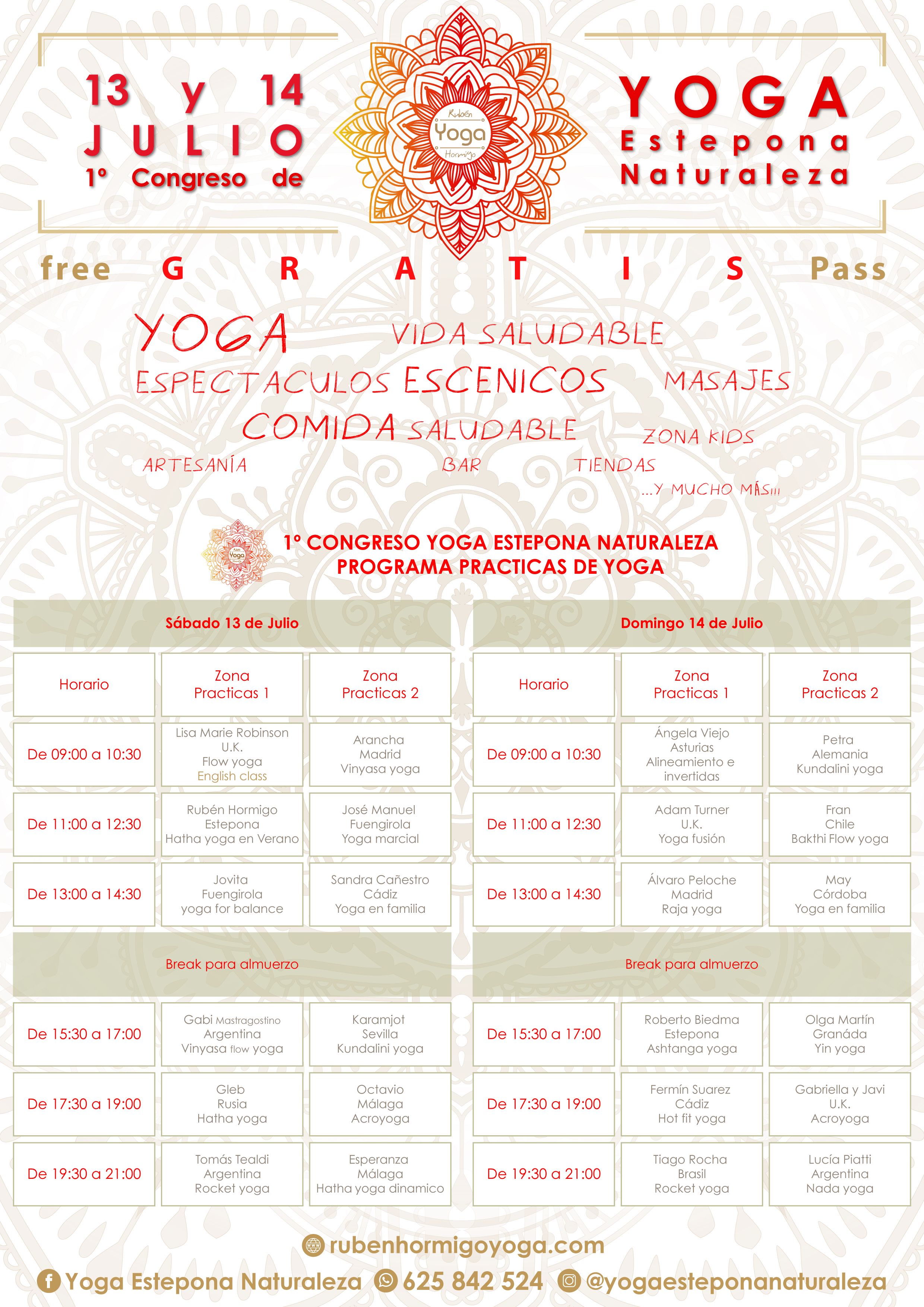I congreso de Yoga Estepona Naturaleza PROGRAMA 1