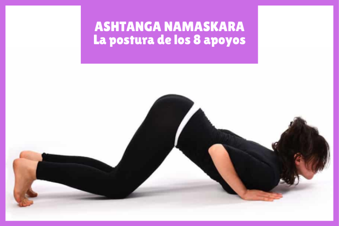 CHICA haciendo ASHTANGA NAMASKARA o postura rodillas-pecho-barbilla