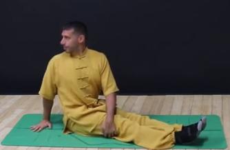 yogui en Parivritta Dandasana giro derecha