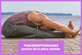 yogui practicando PASCHIMOTTANASANA la postura de la pinza sentado
