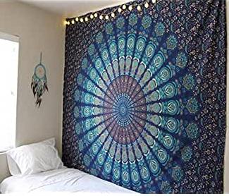 tapiz de yoga mandala azul
