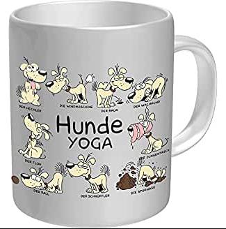 taza de cafe con dibujos de animales haciendo yoga